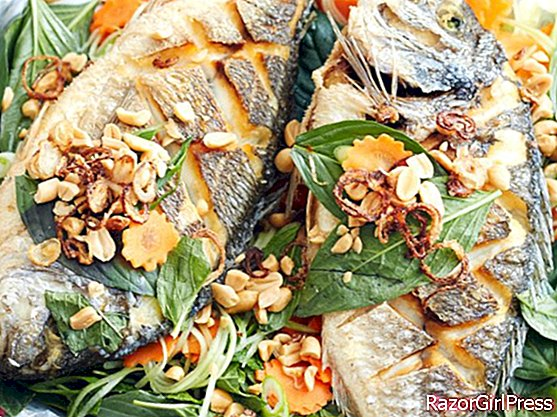 Fried sea bream with basil