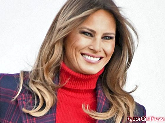 Melania Trump: elegant in a plaid coat to receive the Christmas tree at the White House