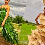 A stylist makes dresses from waste and natural products